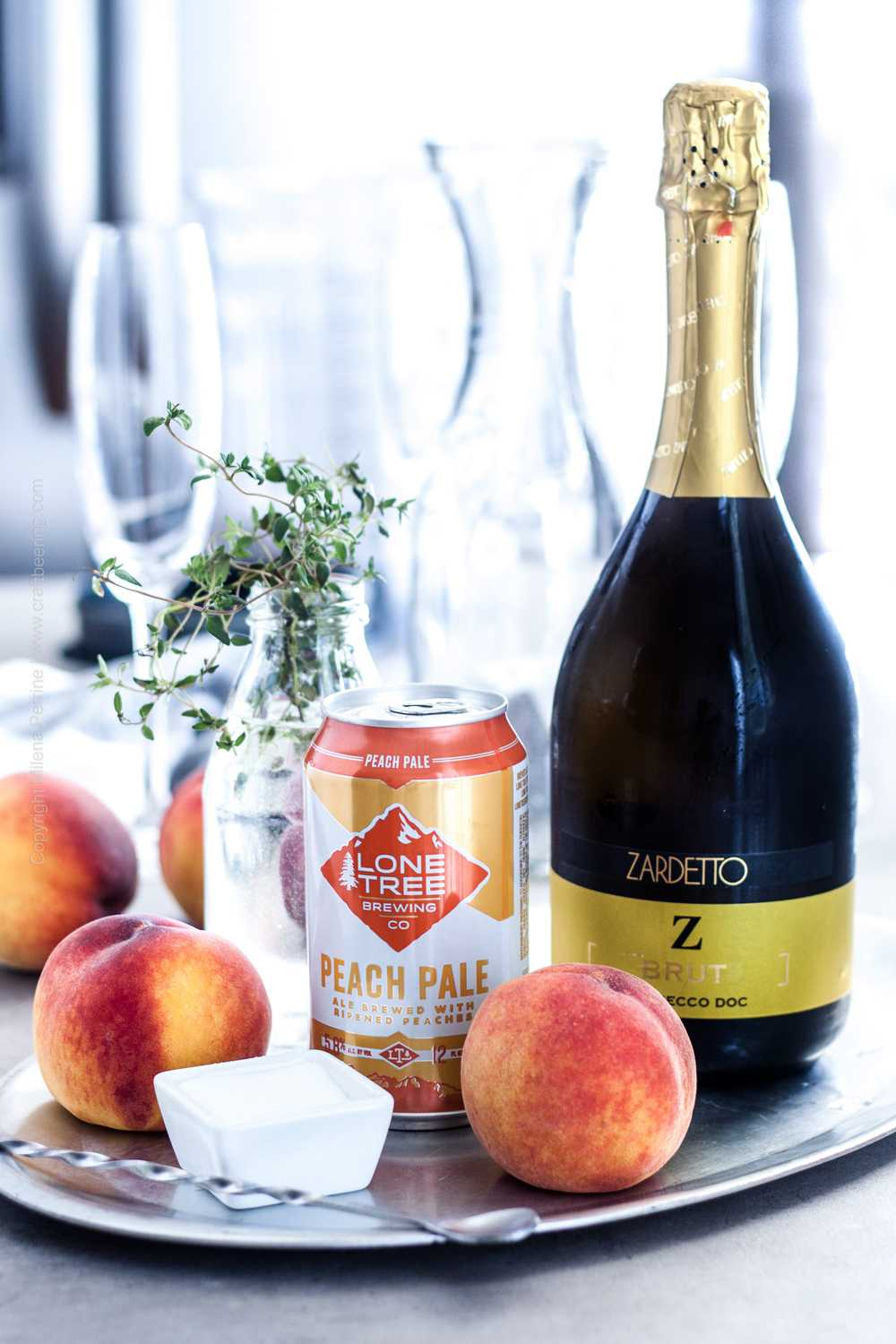 Bellini ingredients - fresh peaches, prosecco and fragrant peach ale.