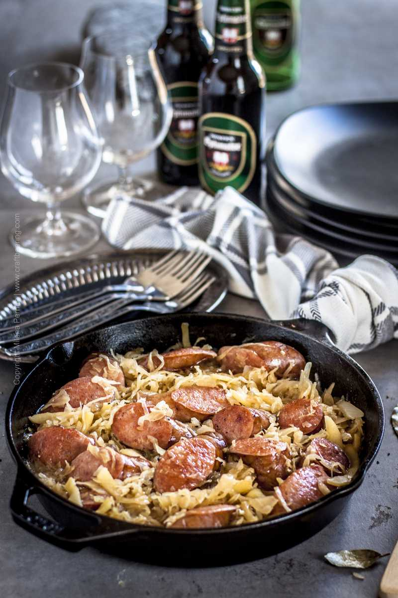 Sausage, apples and sauerkraut skillet.