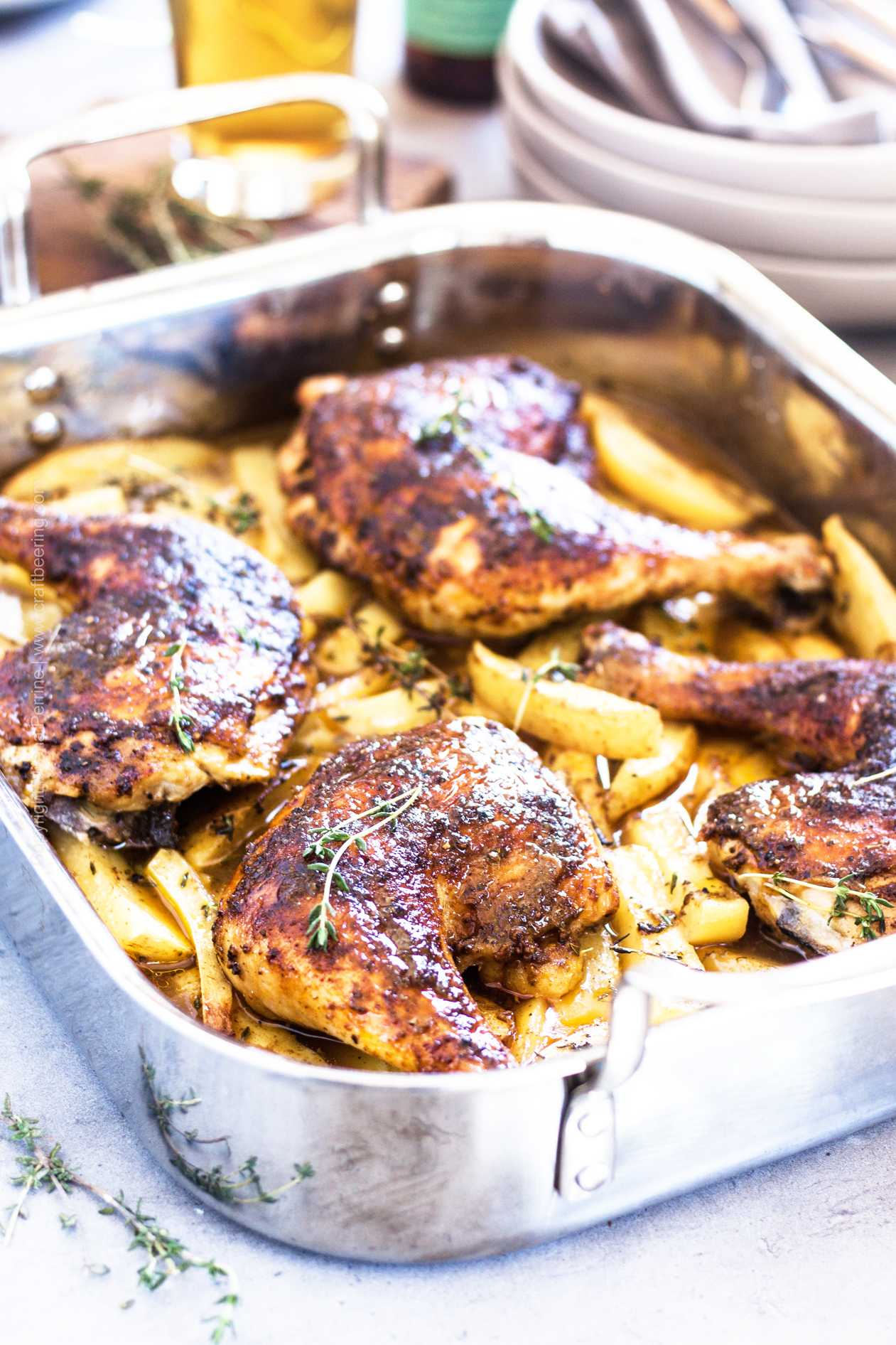 Beer chicken in oven with potatoes.