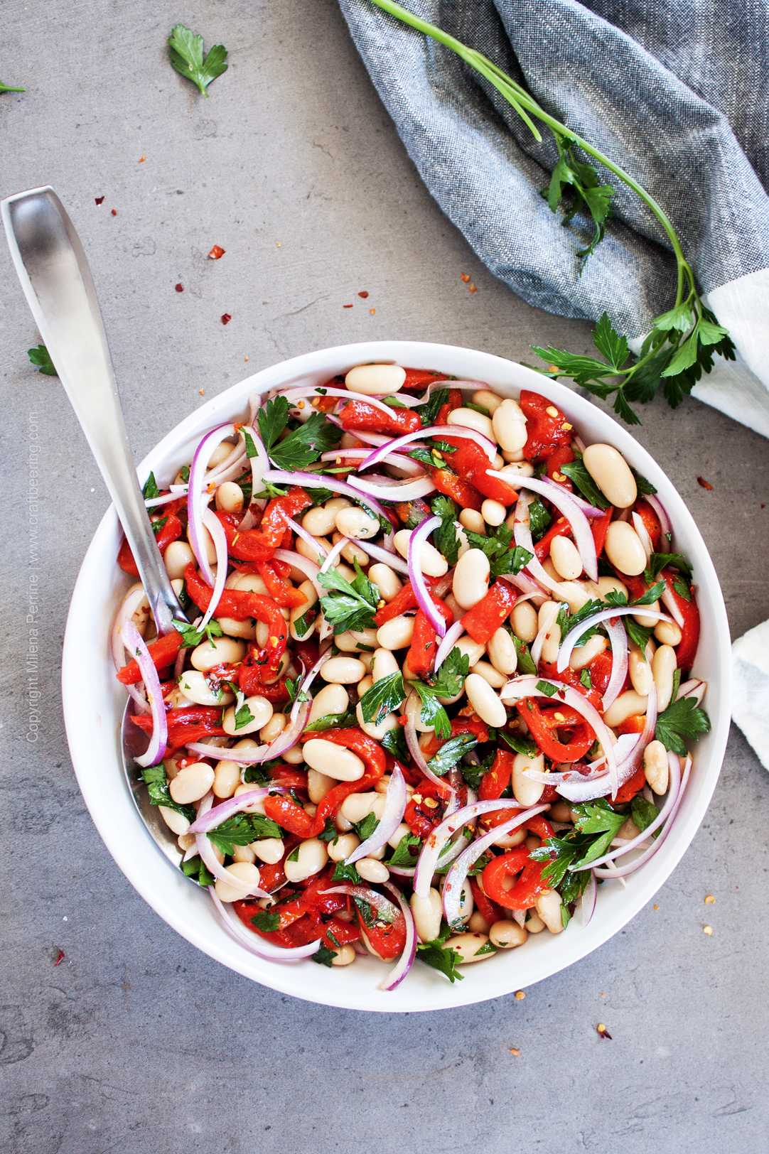 White bean salad with roasted red peppers.