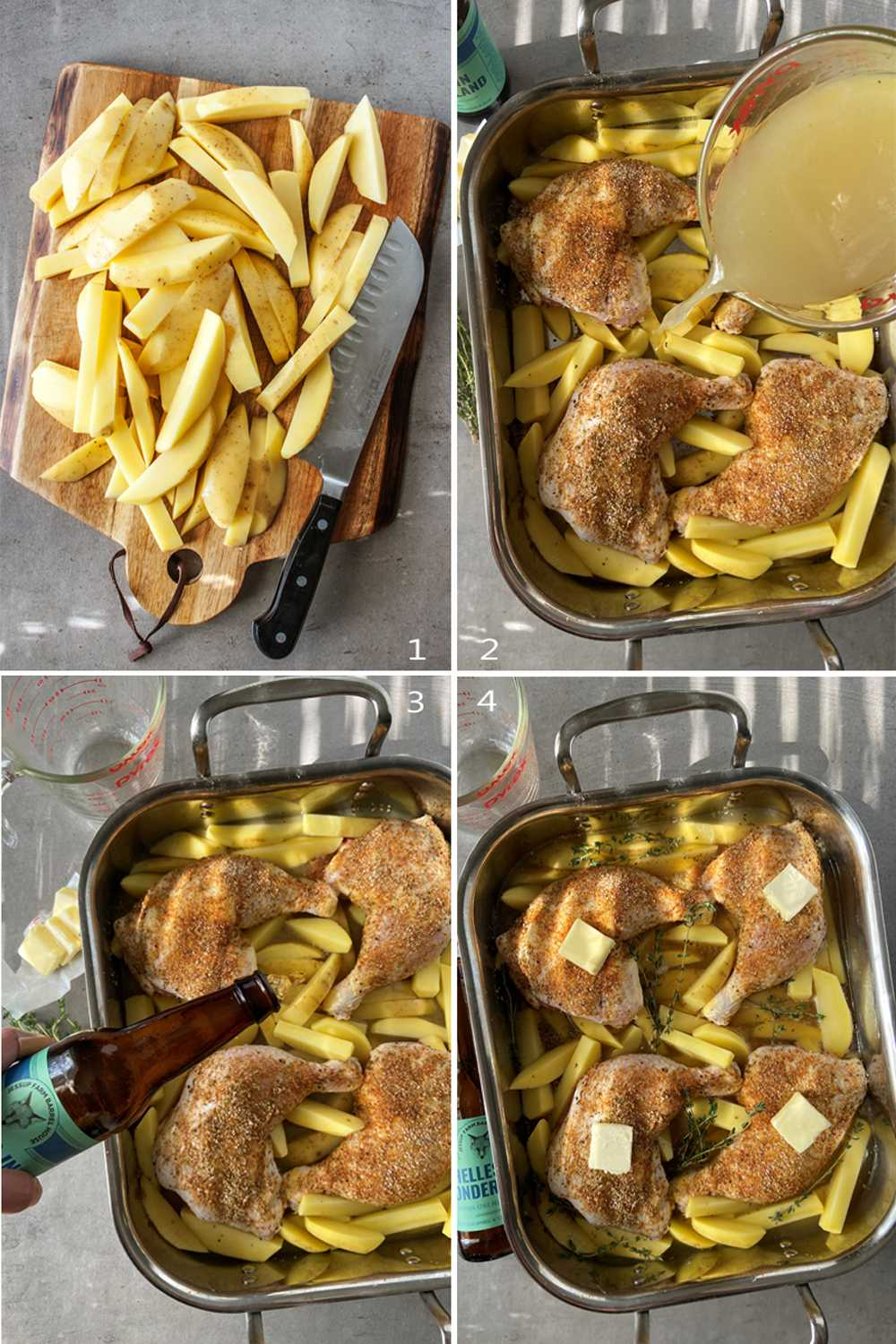 Steps to make beer chicken in oven with potatoes.