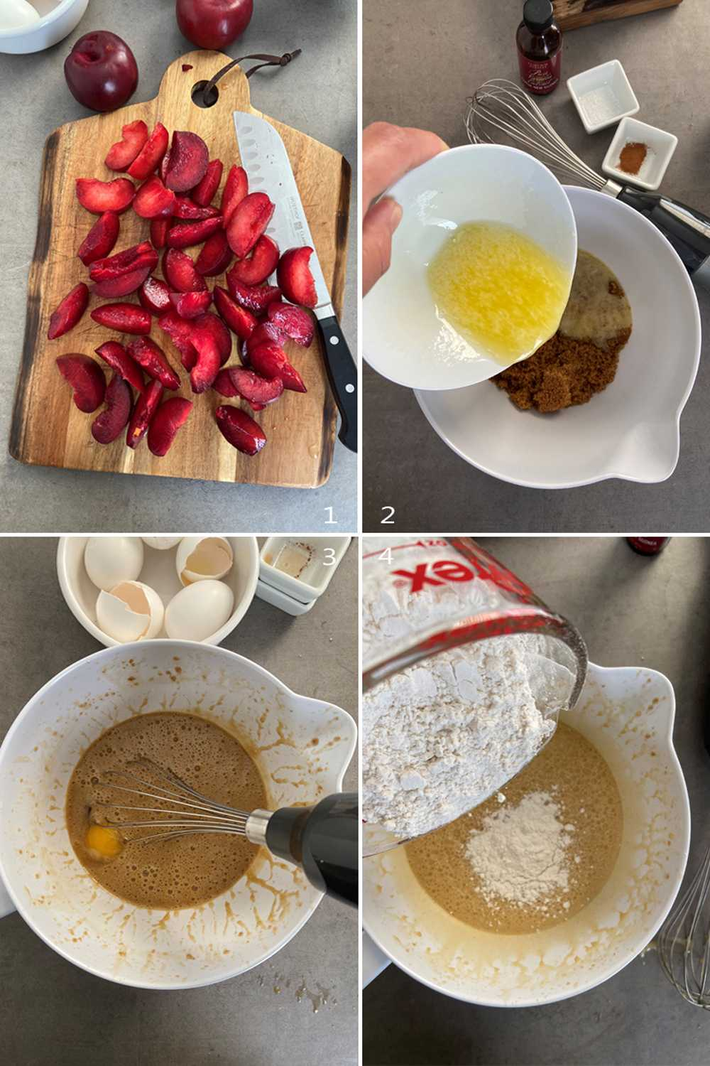 Step by steps images showing how to make plum cake (Zwetschgenkuchen)