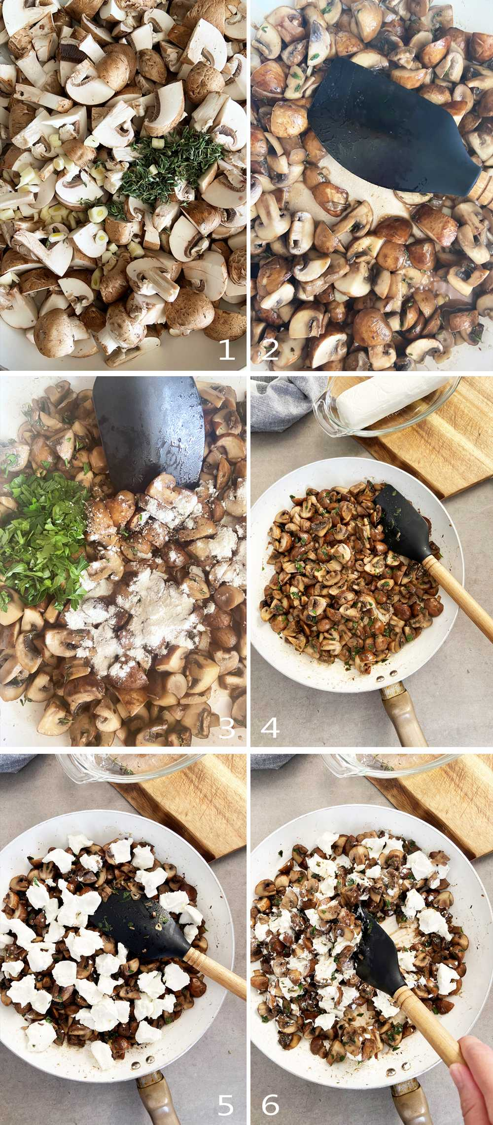 Workflow image grid for goat cheese mushroom filling for strudel