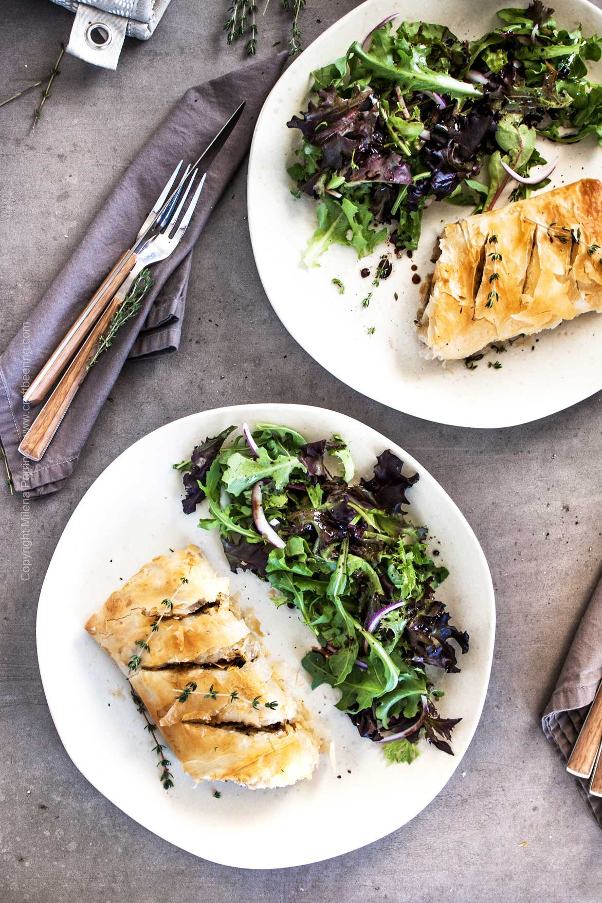 Savory goat cheese and mushroom strudel with puff pastry or phyllo dough.