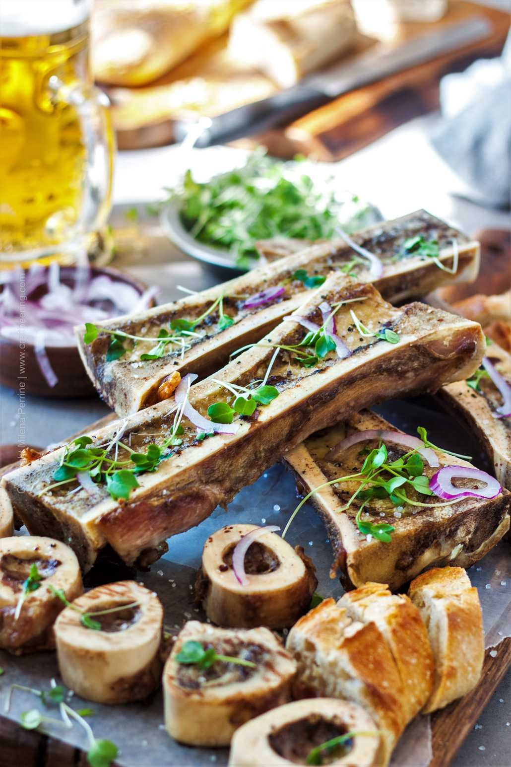 Restaurant style roasted bone marrow.