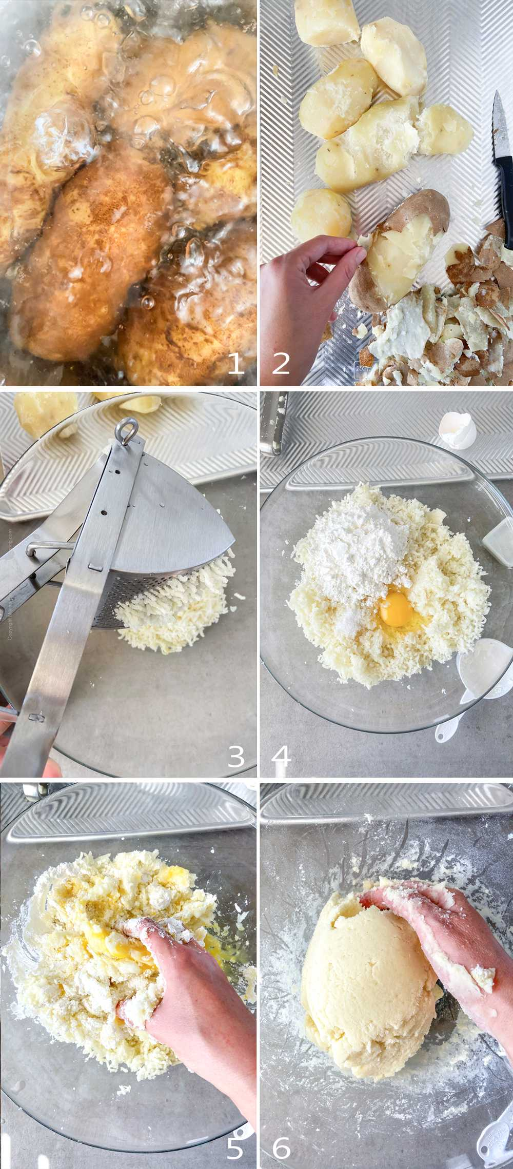 How to make potato dumplings - step by step image collage part 1