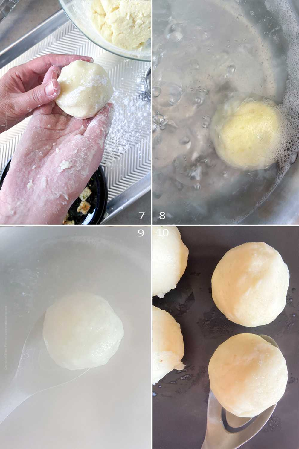 How to make potato dumplings - step by step image collage part 2
