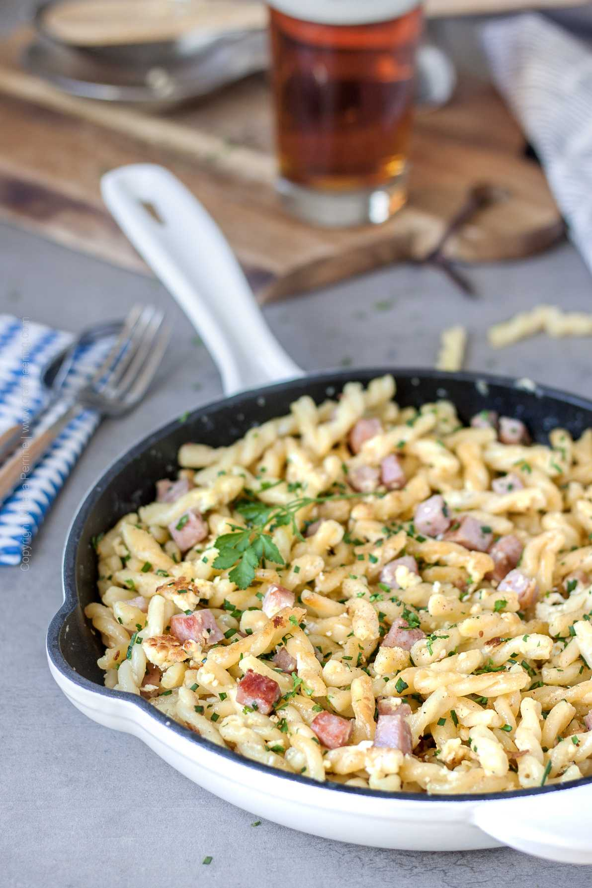 Fried Pasta with Egg & Ham