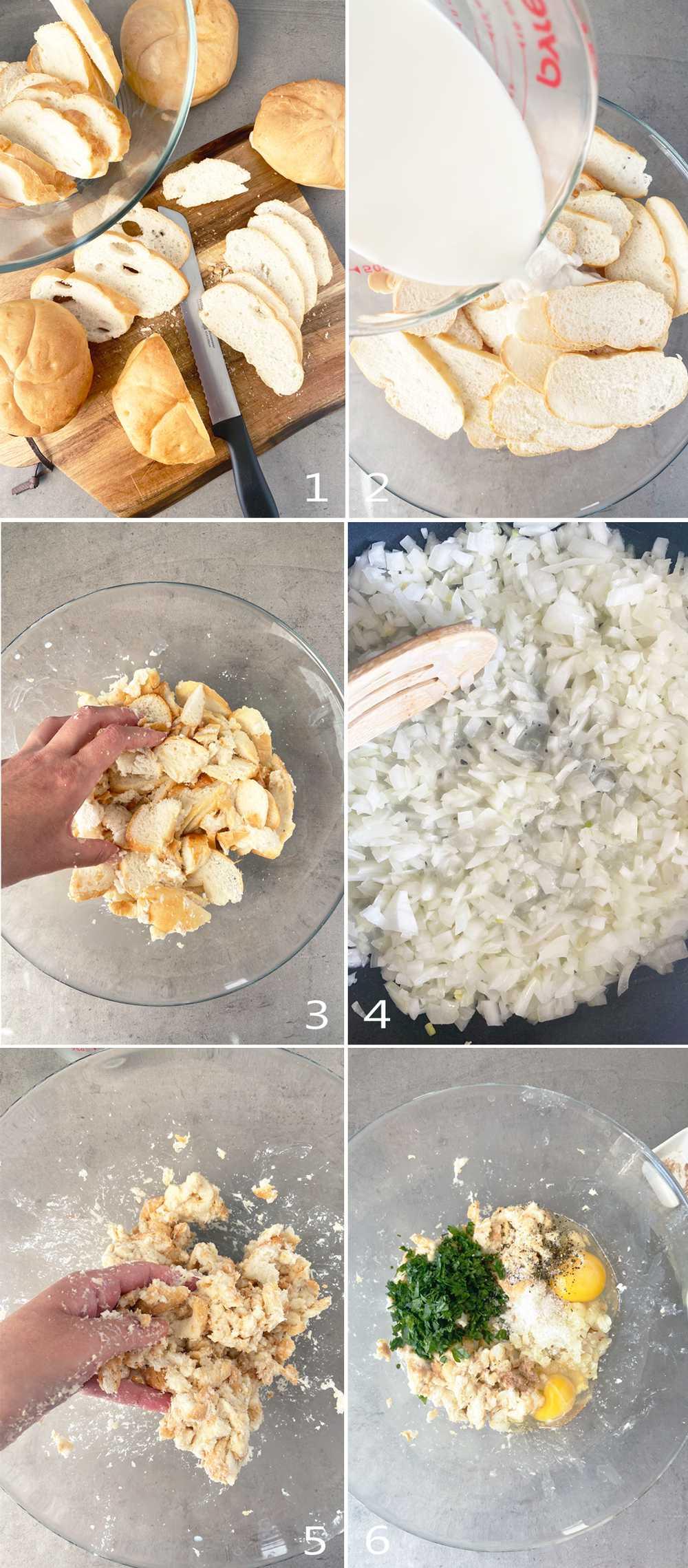 Steps to cut, soak and mix bread rolls into a bread dumpling mixture.