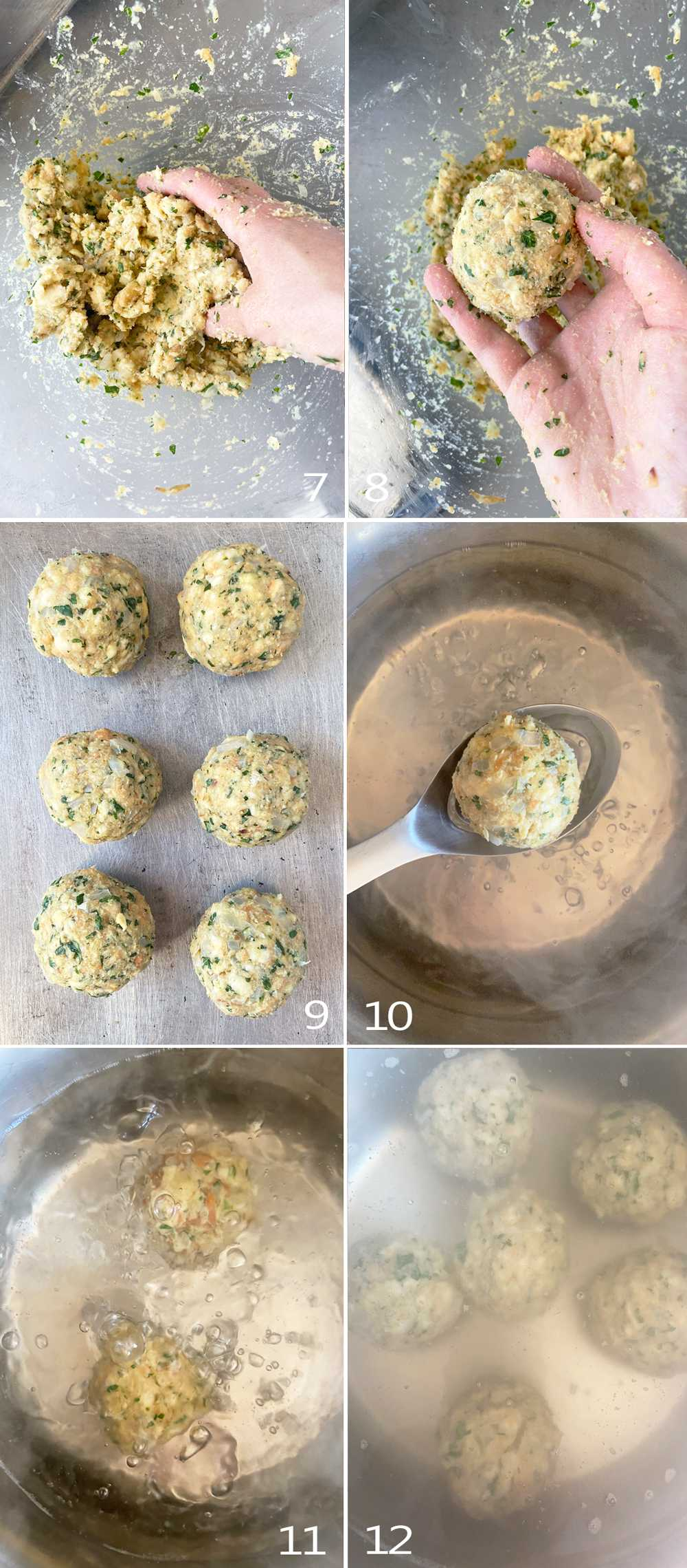 Steps to form and cook Bavarian potato dumplings.
