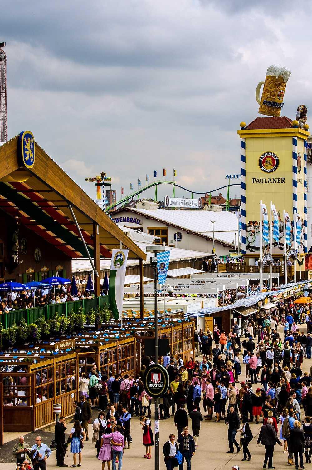 Modern day Oktoberfest Wiesn from above.