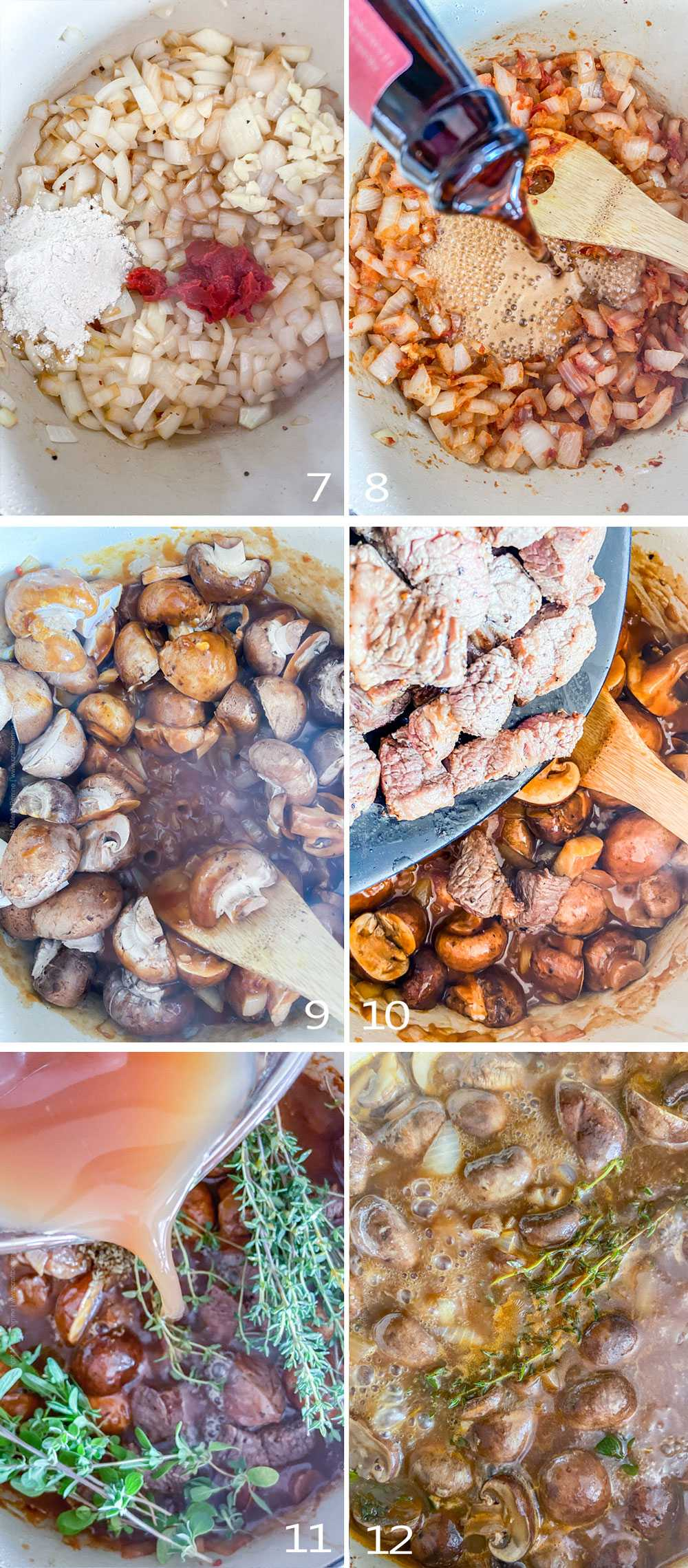 Process of making brisket stew - step by step image collage