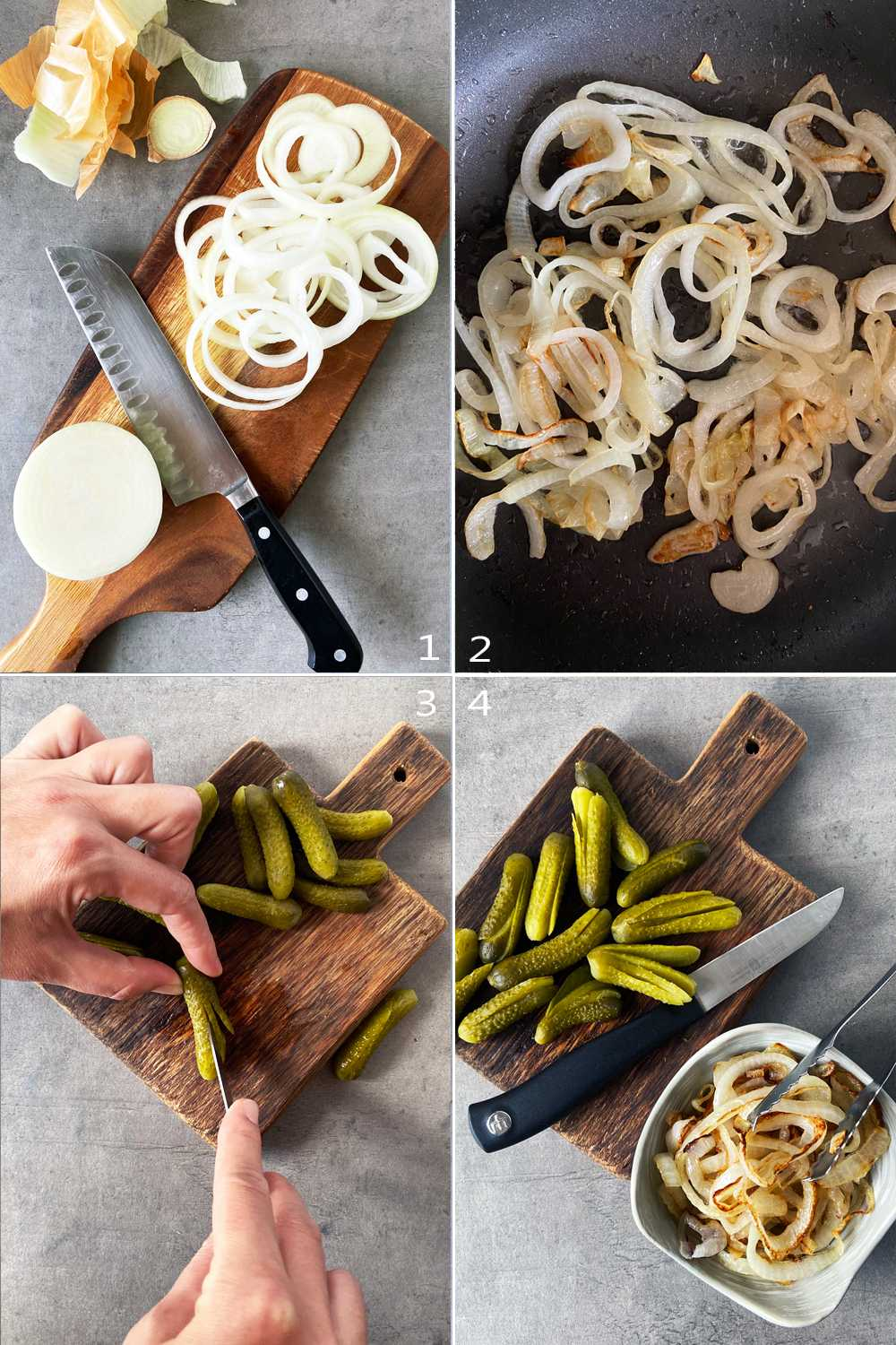 How to make fried onions and prepare pickles for traditional Bierfleisch
