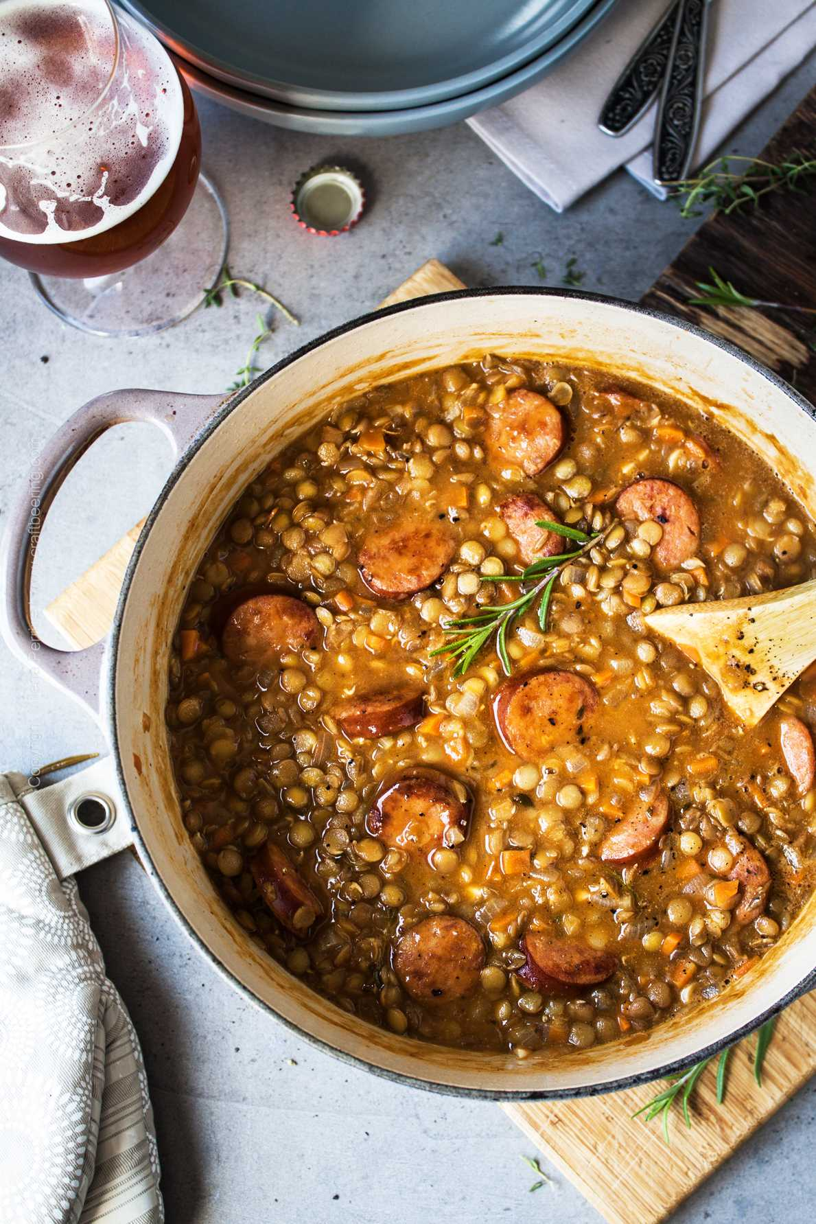 Lentil stew with Andouille sausage and rosemary.