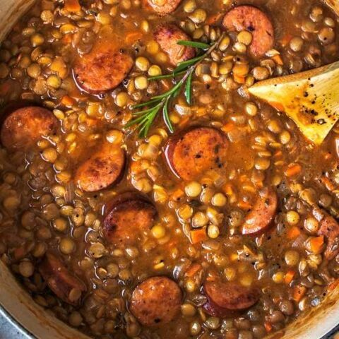 Lentil stew with Andouille sausage.