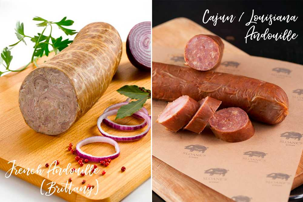 French andouille sausage from Brittany next to Cajun Andouille from Louisiana.