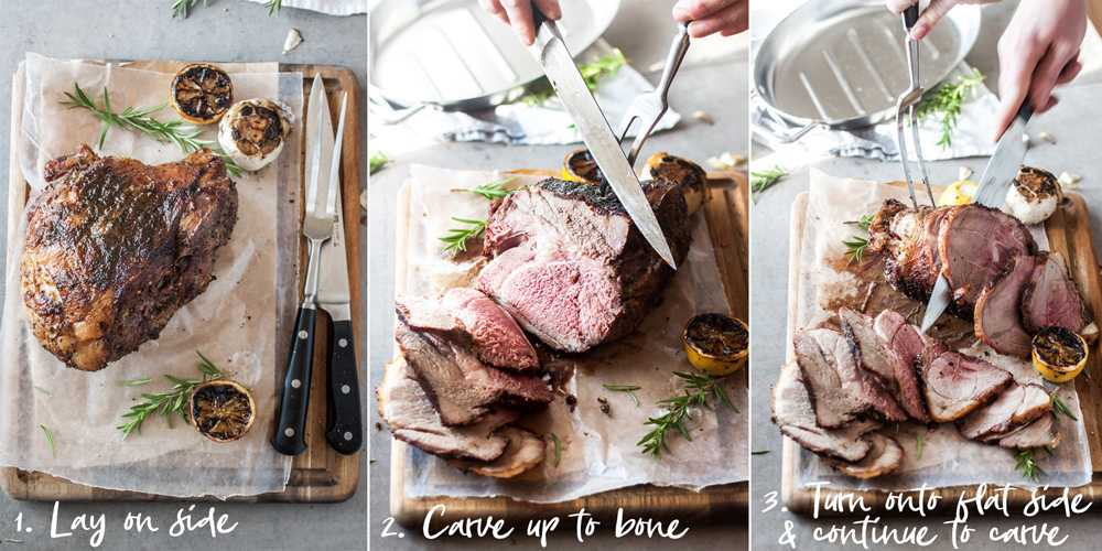 Steps to carve bone-in leg of lamb