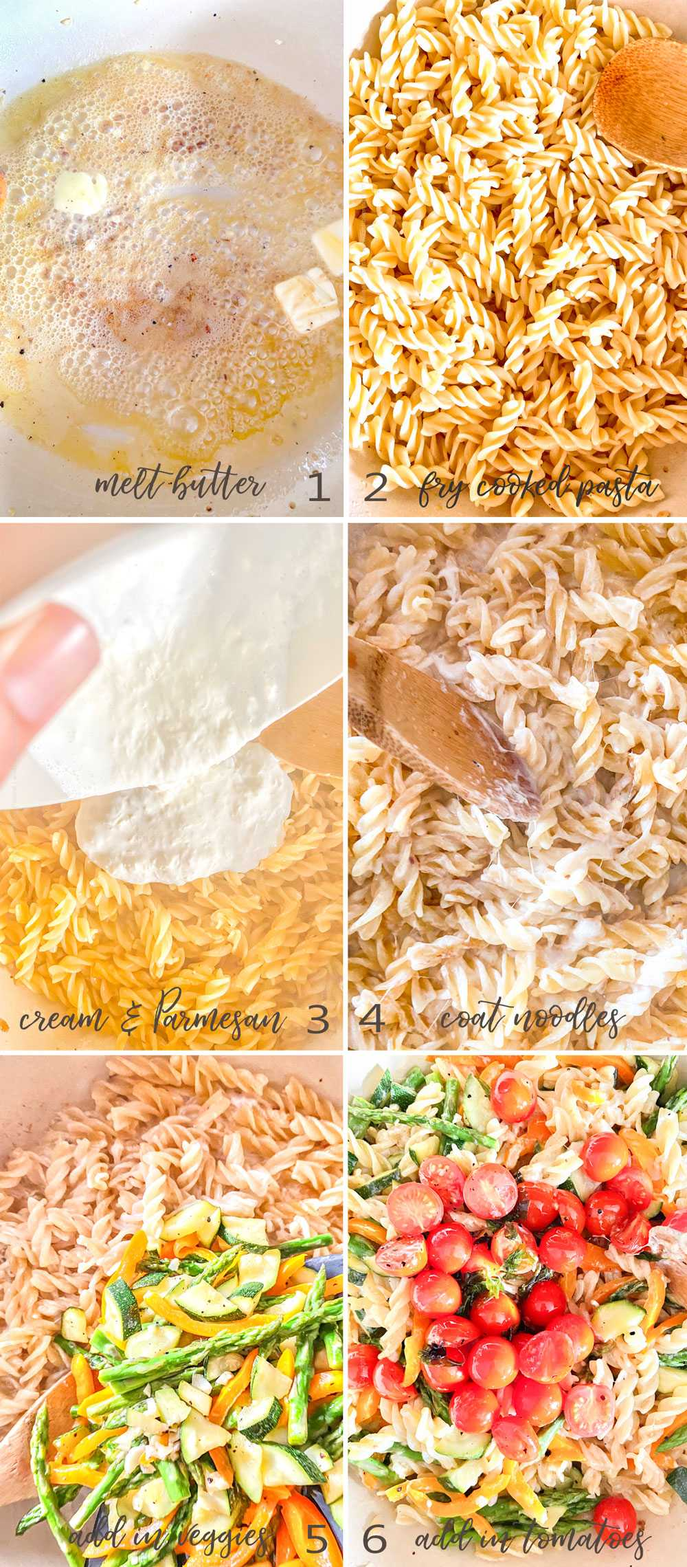 How to pan fry al dente noodles for Pasta Primavera and then assemble the dish - step by step image collage.