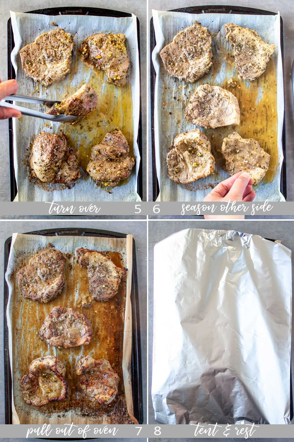 tep by step images showing how to prepare oven bake marinated pork chops. Part 2