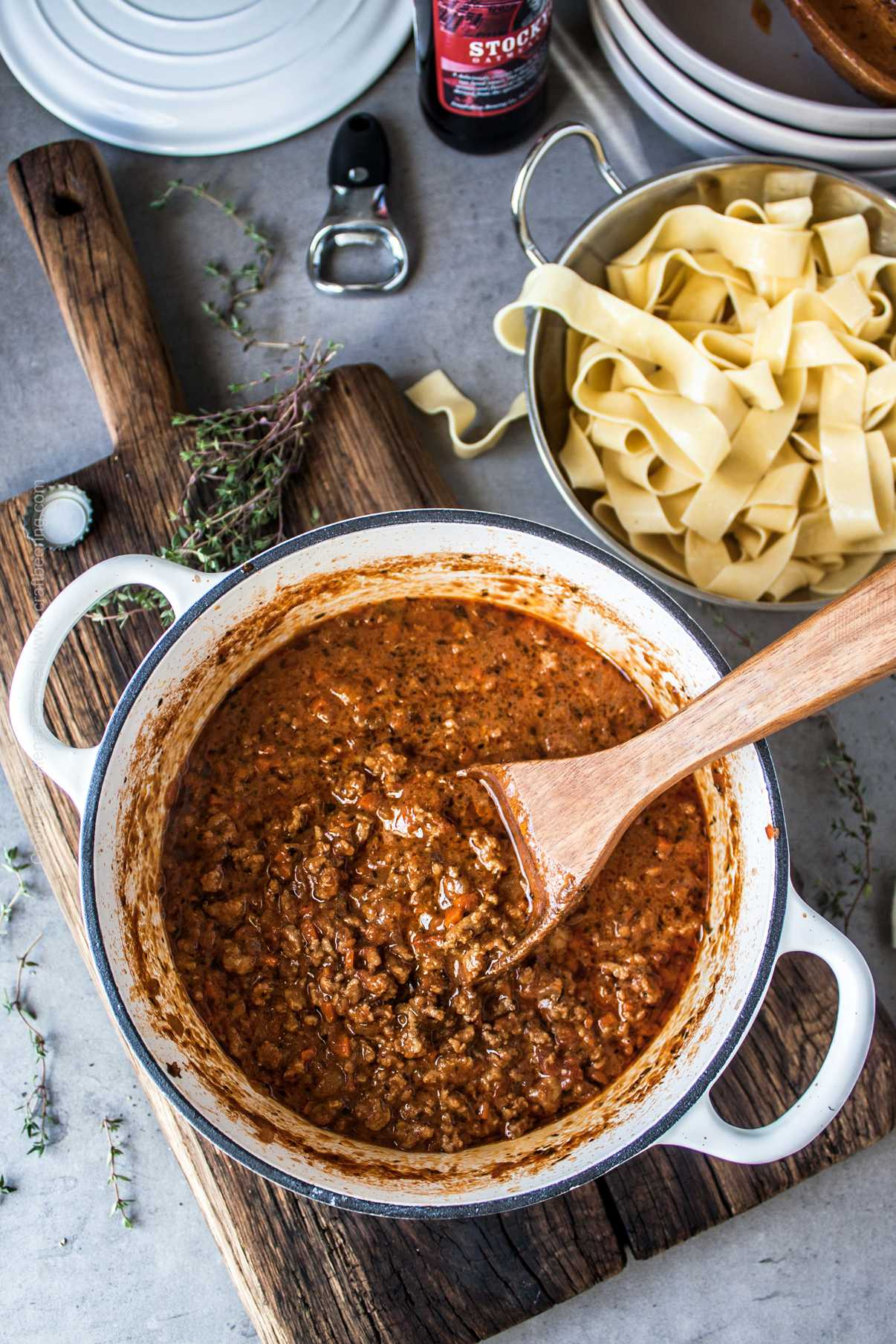 Hearty ground meat sauce with beef and roasty notes from stout.