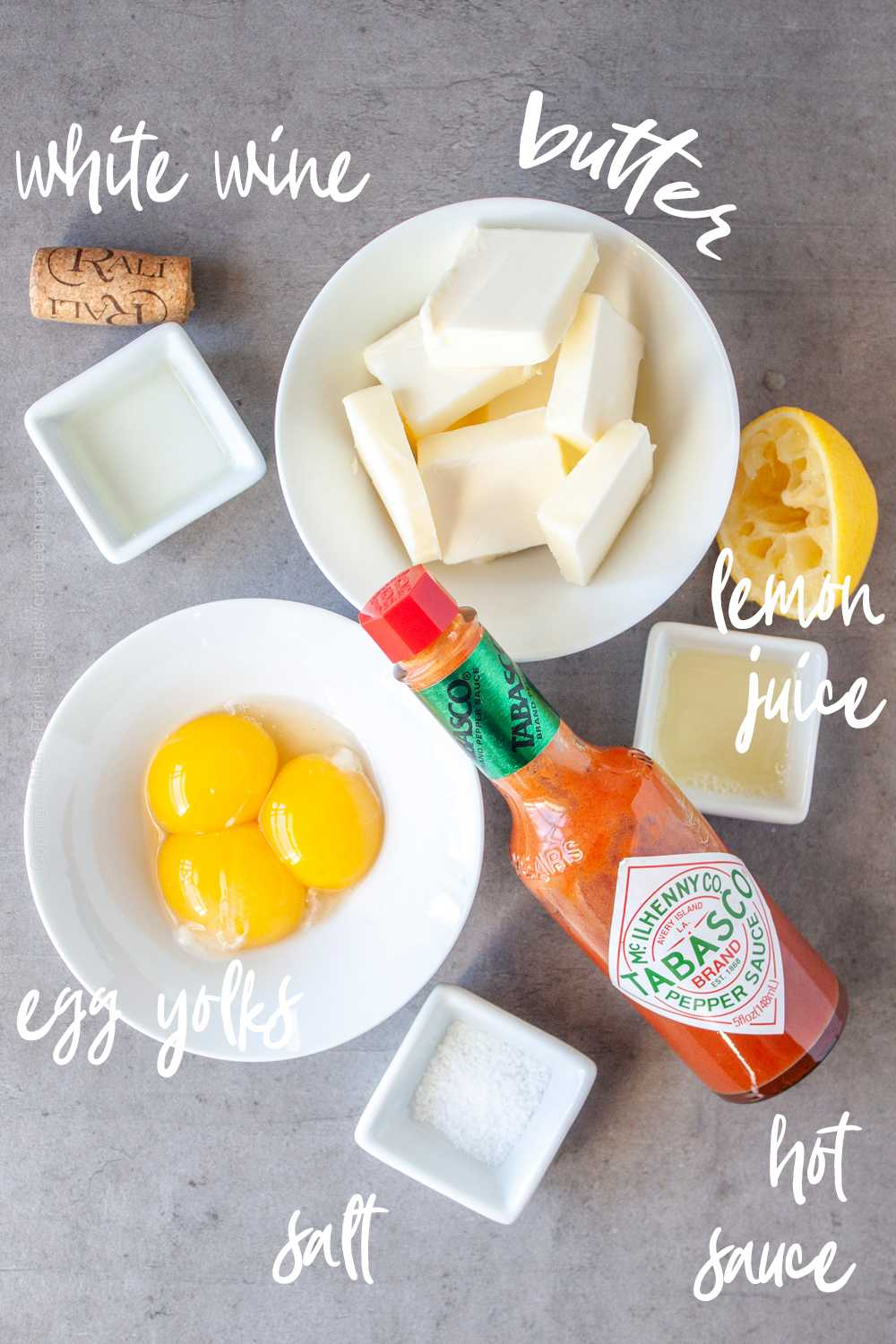Raw ingredients for Hollandaise sauce