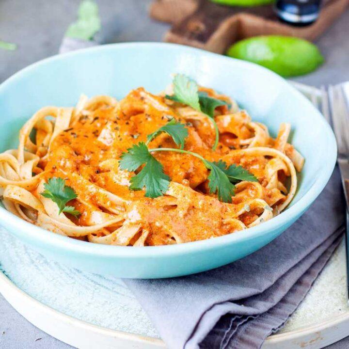 Spicy chorizo pasta cream sauce.