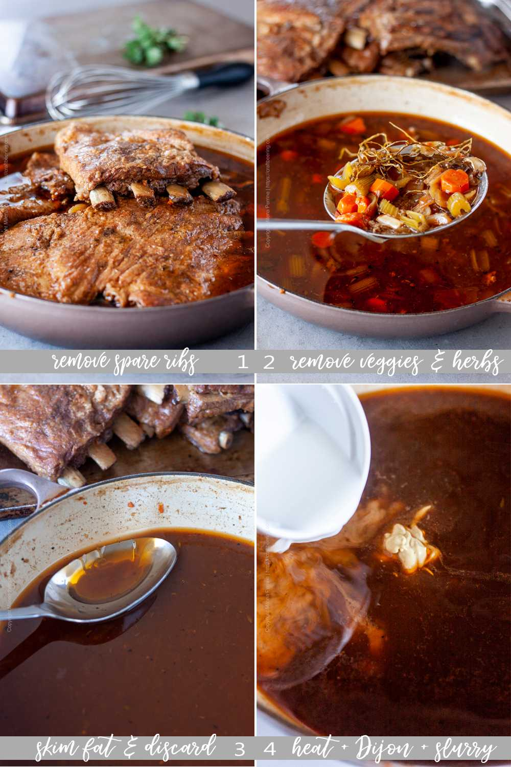 Step by step make gravy from braising liquid for spare ribs.