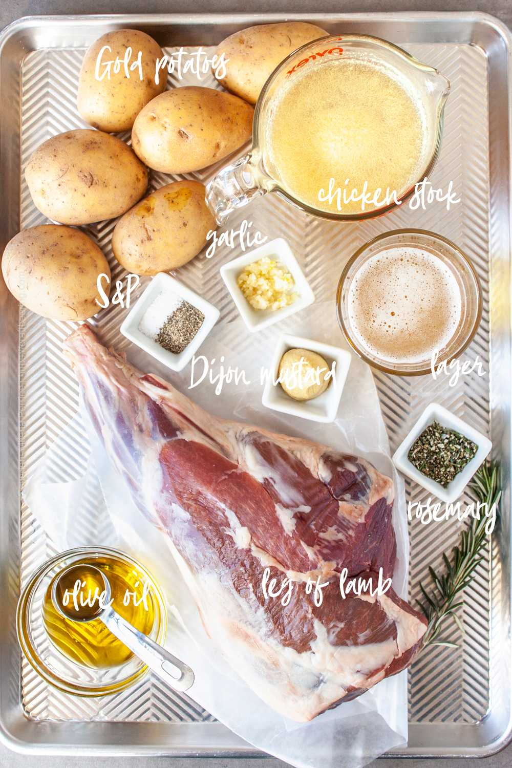 Ingredients for slow cooked leg of lamb in oven with Dijon mustard marinade
