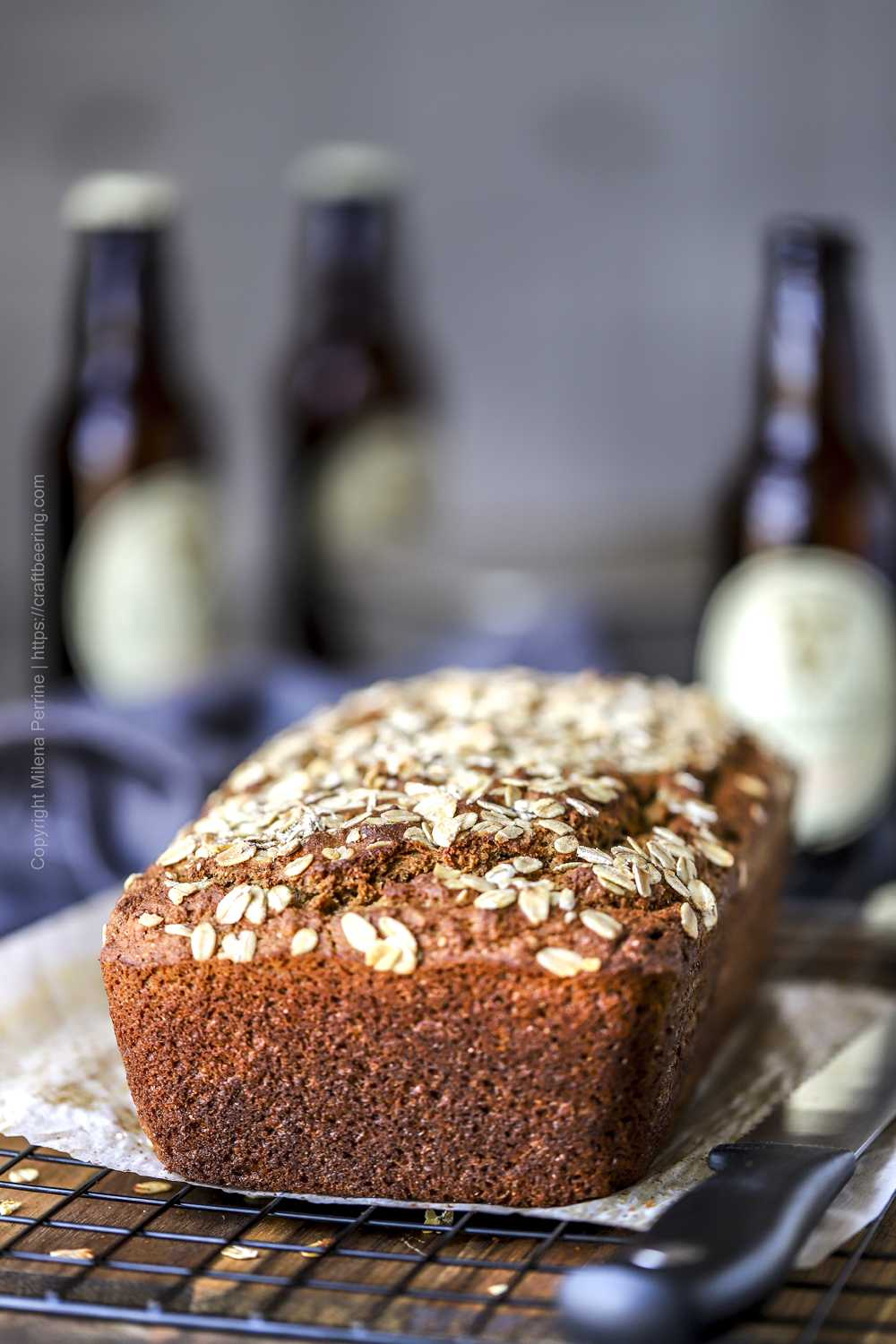 Loaf of Irish brown bread with stoneground whole wheat flour and oats.