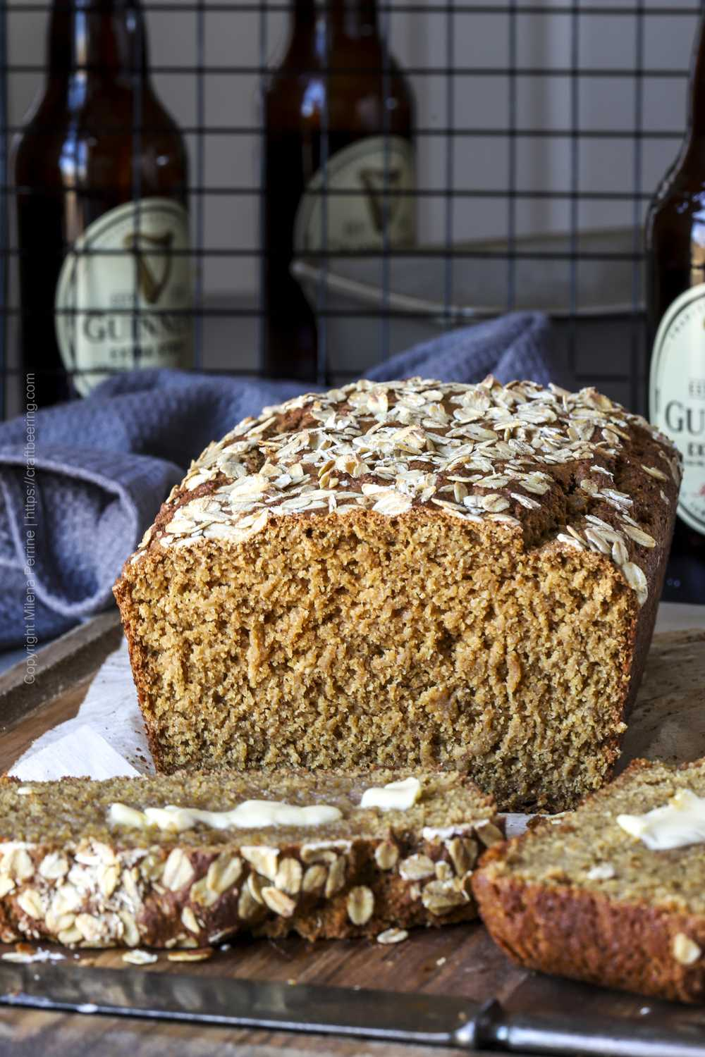 Guinness Irish brown bread, sliced and slathered with Irish butter.