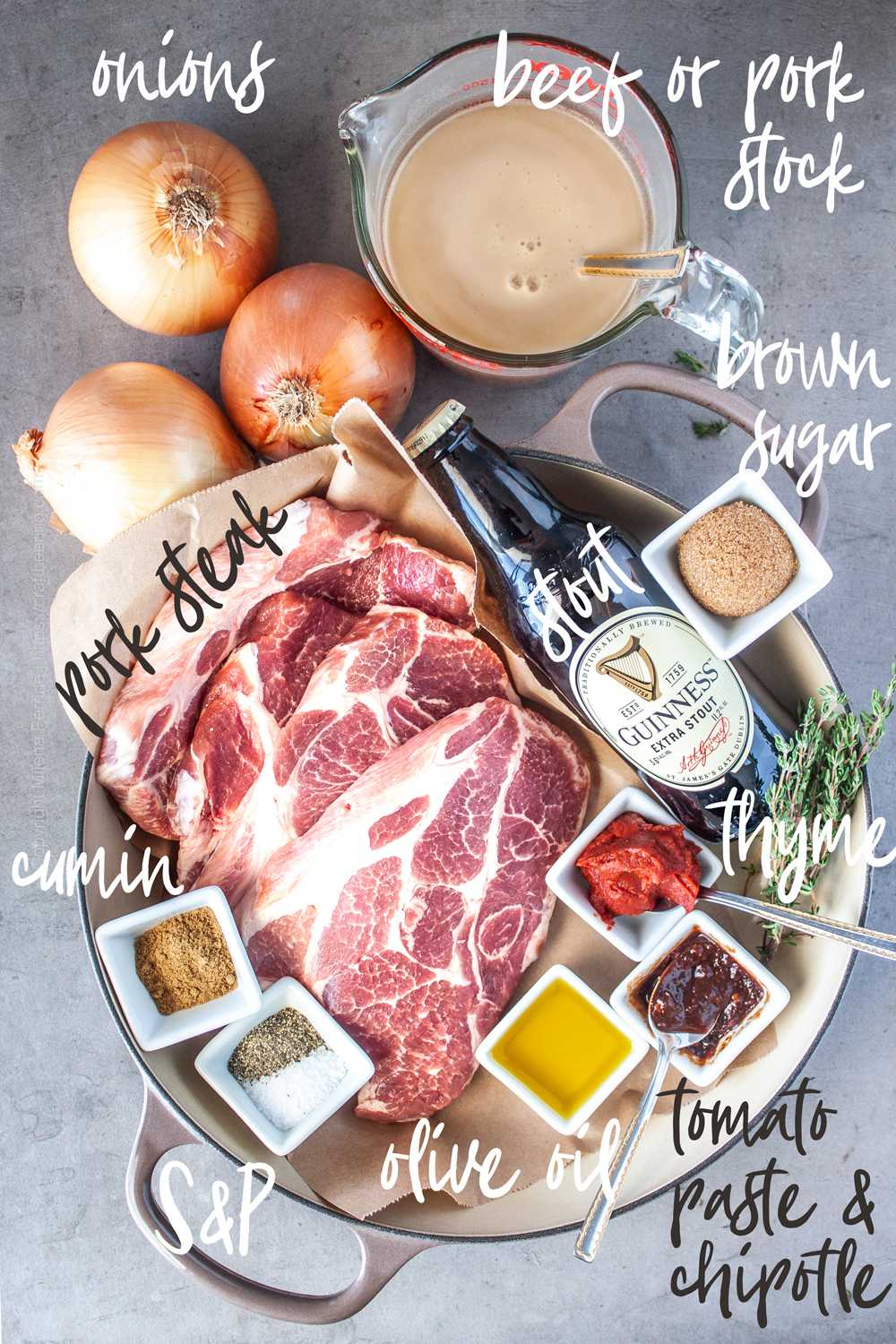 Pork steak and other ingredients needed to braise it.