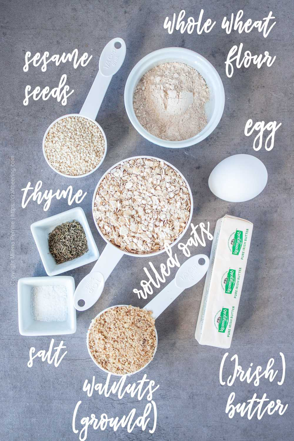 Rolled oats and other ingredients for oatcakes (savory oat crackers)