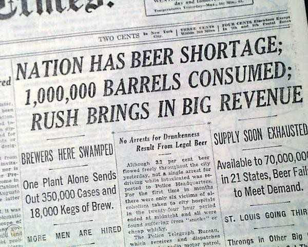 National Beer Day commemorates the official end of Prohibition