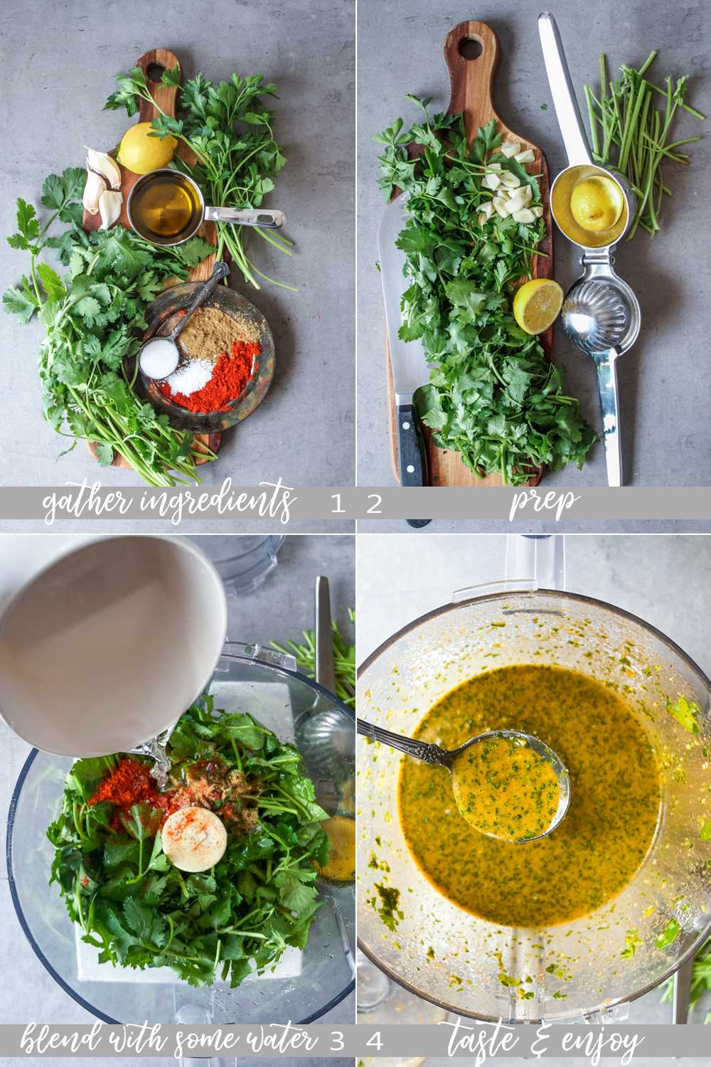 Raw ingredients for Moroccan chermoula and images showing how to make it step by step.