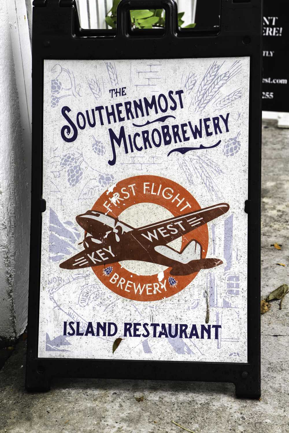 First Flight - the Southernmost brewery in the USA, located in Key West at the corner of Whitehead St. and Caroline St.