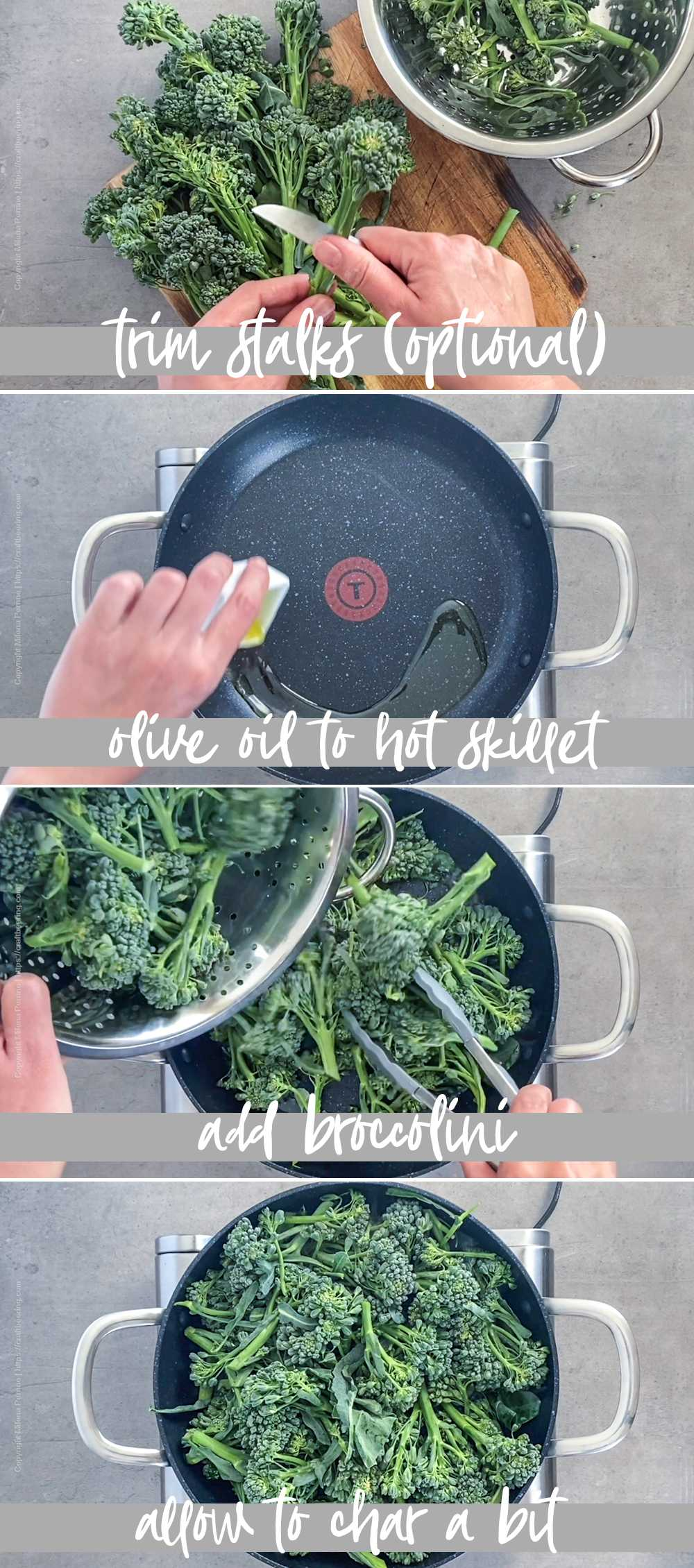 How to cook broccolini in a pan with garlic (steam fry technique) - part 1