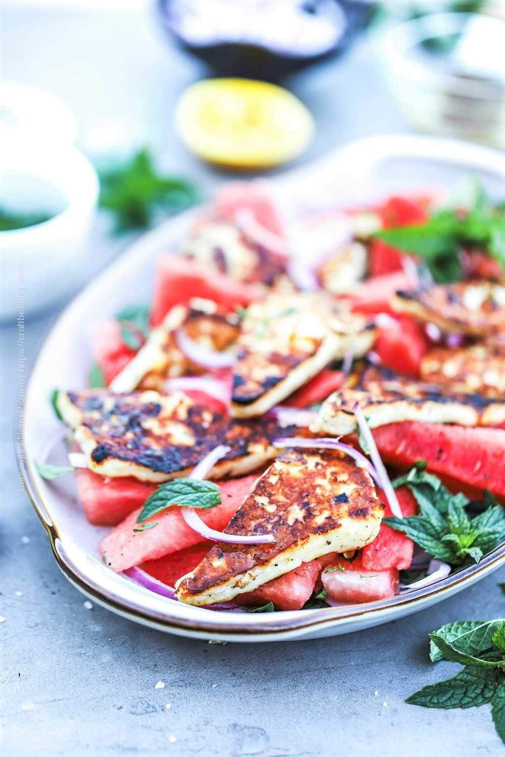 Grilled halloumi cheese with watermelon, red onion and mint - a vibrant, fresh summer salad.