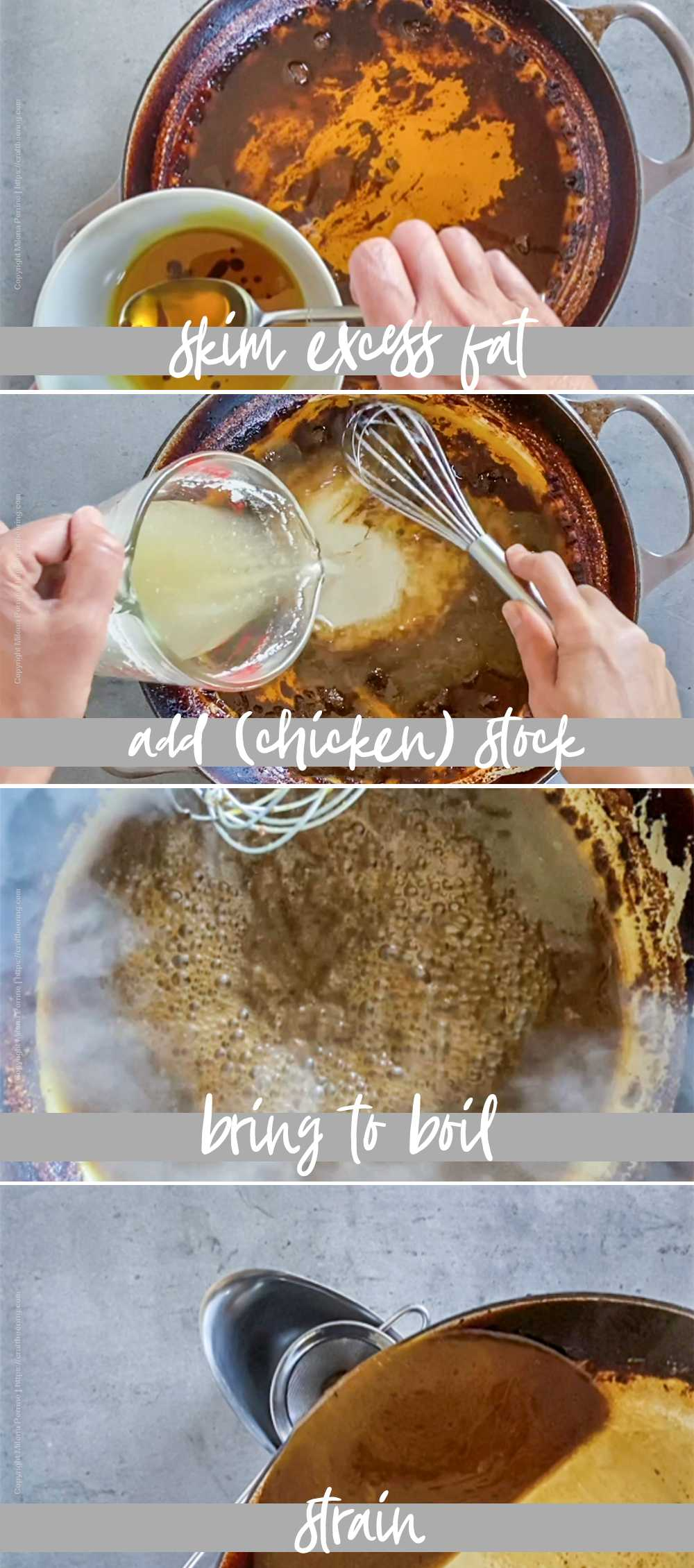 Step by step images showing how to make sauce from the braising liquid of lamb leg.