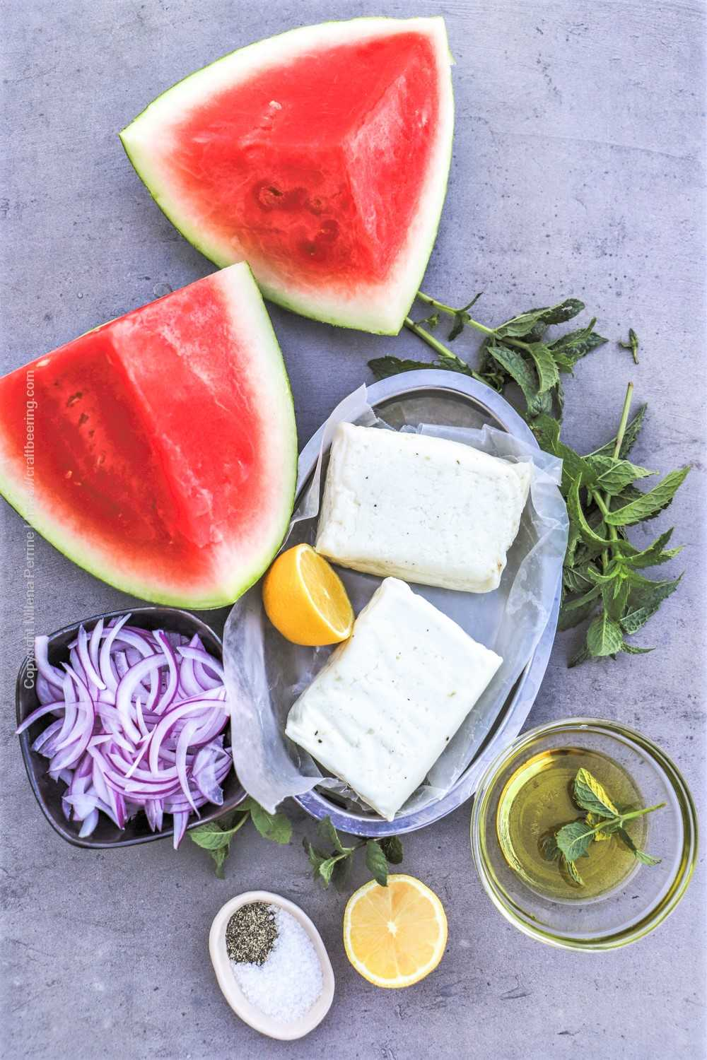 Halloumi cheese blocks, watermelon, red onion, mint, lemon, salt and pepper, olive oil - all the ingredietns to make grilled halloumi salad.