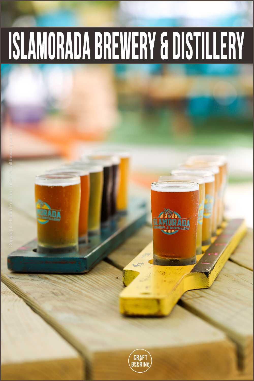 Beer taster flights at Islamorada Brewery.
