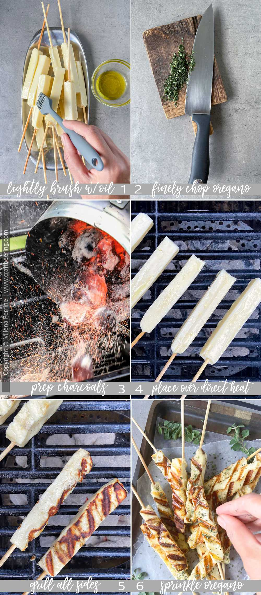 Step by step images showing how to grill queijo coalho Brazilian cheese skewers over charcoals, just like it is done on the beaches and street food stalls in Brazil.