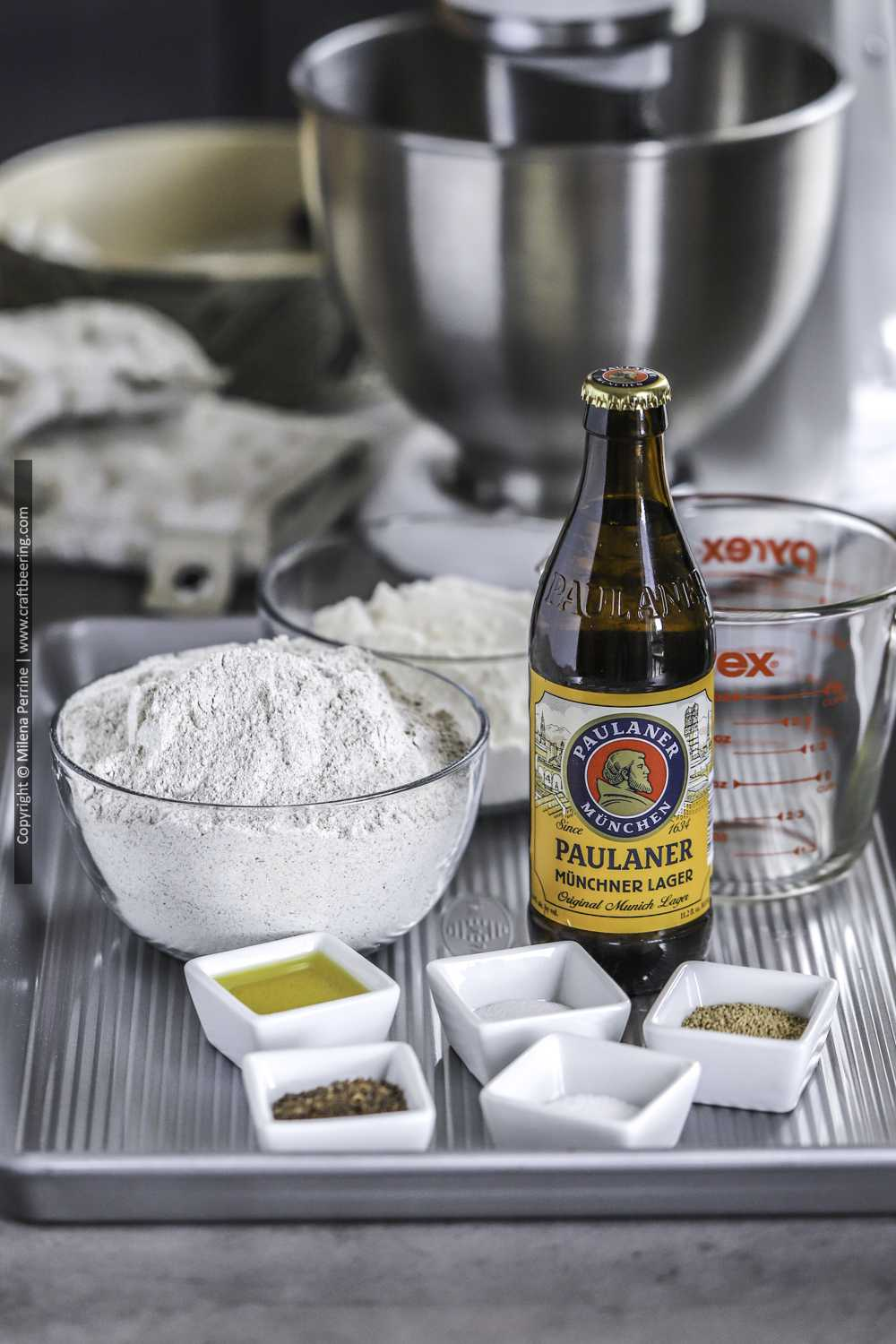 Ingredients for yeasted beer bread.