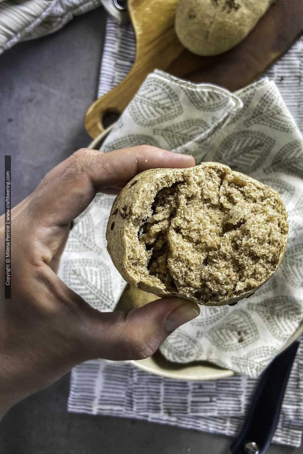 Beer bread roll texture when made with rye flour - denser than if it was baked with all-purpose wheat.