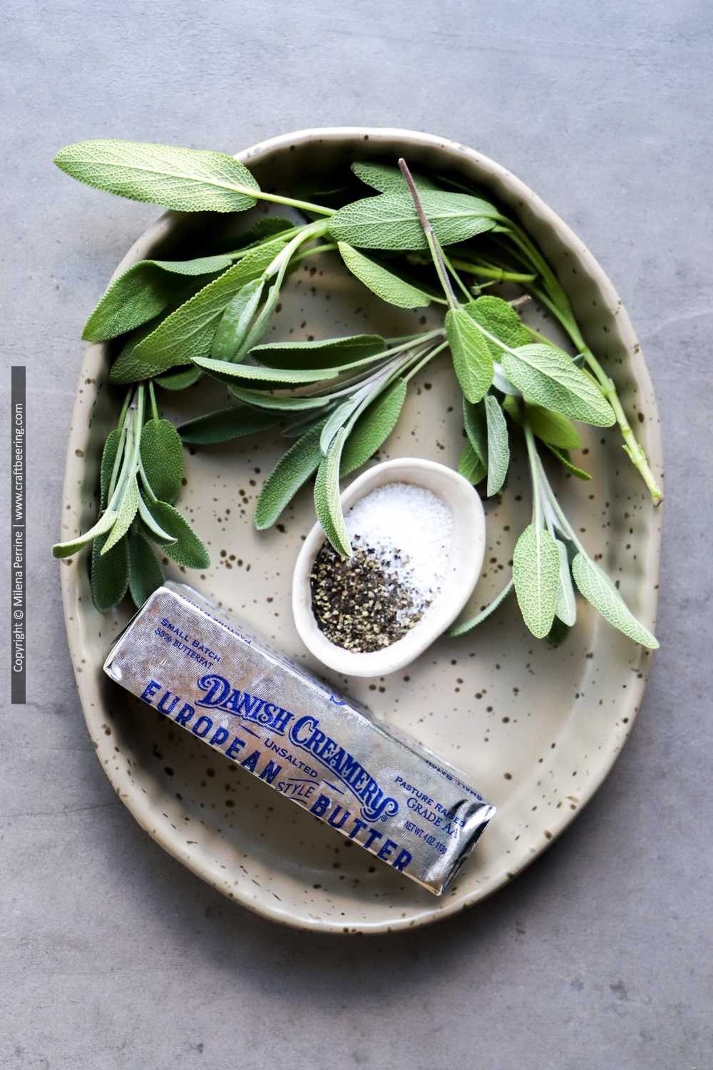Fresh sage, European style unsalted butter, salt and pepper come together to make brown butter and sage sauce for ravioli, butternut squash and more.